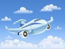 乘客在天空的飞机飞行 免版税库存图片
