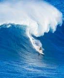 乘巨型波浪的冲浪者 免版税库存照片