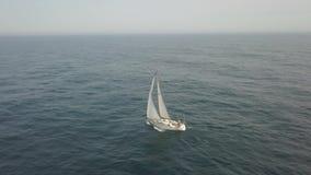 乘快艇与漂浮在蓝色海鸟瞰图的白色风帆 严重的横向 股票视频