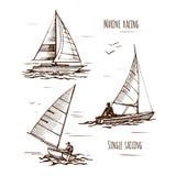 乘快艇唯一游艇的海 库存例证