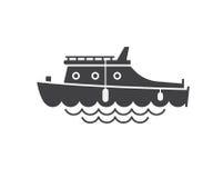 乘快艇的小船概述象 库存例证