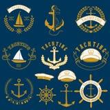 乘快艇的标签和徽章 JPG 向量例证