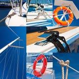 乘快艇&小游艇船坞-照片拼贴画  库存图片