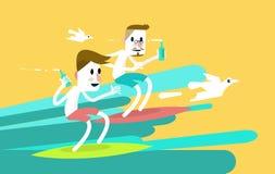 乘波浪的两个年轻体育冲浪者人。 免版税库存照片