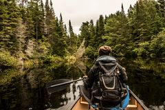 乘独木舟与在两条河湖的独木舟的女孩在安大略的加拿大阿尔根金族国家公园在多云天 免版税库存照片