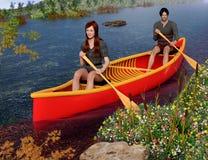 乘独木舟在河的春天 免版税库存照片
