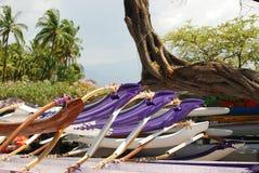 乘独木舟夏威夷人 免版税图库摄影