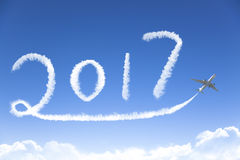 2017年画乘飞机的新年好 免版税库存照片
