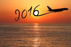 2016年画乘飞机的新年 库存图片