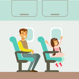 乘飞机,采取动画片场面的不同的运输类型系列一部分的父亲和女儿的人与 皇族释放例证