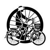 乘驾自行车剪影传染媒介轮子  免版税图库摄影