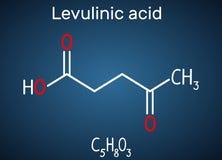 乙酰丙的酸分子,是从果糖准备的一个水晶酮酸,土木香粉,淀粉 在的结构化学式 库存例证