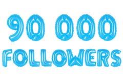 九万个追随者,蓝色颜色 库存照片