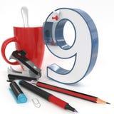 `九与办公室材料的` 3d数字 免版税库存照片