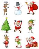 九个圣诞节设计 免版税库存照片