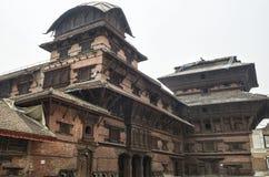 九个楼层Basantapur塔在鼻Chowk庭院, Kathamandu,尼泊尔里 库存照片
