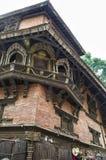 九个楼层Basantapur塔在鼻Chowk庭院, Kathamandu,尼泊尔里 图库摄影