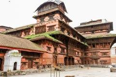 九个楼层Basantapur塔看法在鼻Chowk庭院, Kathamandu,尼泊尔里 免版税图库摄影