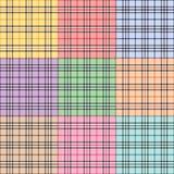 九个模式格子花呢披肩 免版税库存照片