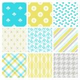 九个模式纺织品时髦墙纸 免版税库存图片