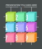 九个色的信息箱子介绍模板 库存照片