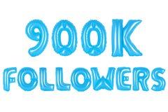 九十万个追随者,蓝色颜色 免版税库存照片