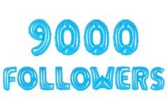 九千个追随者,蓝色颜色 库存照片