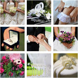 九块婚姻的彩色照片拼贴画  免版税库存照片