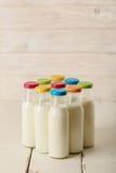 九块玻璃在多彩多姿的盖帽的牛奶瓶 免版税库存图片