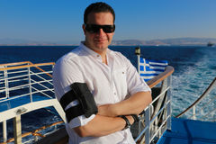 九头蛇海岛的,希腊游人 免版税库存照片