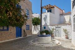 九头蛇海岛,希腊海岛街道  免版税图库摄影