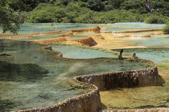 九寨沟多彩多姿的水池在中国 免版税库存照片