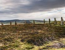九常设石头和荒野,大陆,奥克尼,苏格兰 库存图片