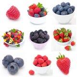 九张图片拼贴画用新鲜的莓果 免版税库存图片