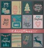 九张圣诞卡的汇集与手拉的元素的 免版税库存图片