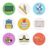 九种被设置的颜色平的象-学校 库存照片