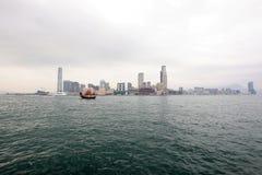 九龙多云朦胧的冬天视图从香港的 免版税库存照片