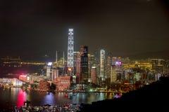 九龙,香港夜场面  免版税图库摄影