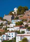 九头蛇,希腊海岛的村庄  免版税图库摄影
