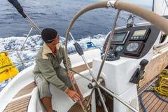 九头蛇,希腊-水手参加航行赛船会 库存照片