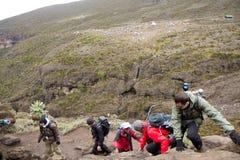 2014 02乞力马扎罗,坦桑尼亚:在山的Machame路线 4天 库存照片