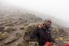 2014 02乞力马扎罗,坦桑尼亚:在山的Machame路线 4天 免版税库存图片