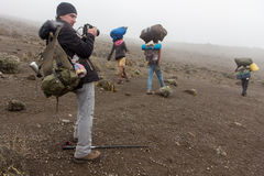 2014 02乞力马扎罗,坦桑尼亚:在山的Machame路线 4天 库存图片