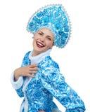 也作为收集玩偶已知的未婚俄国snegourochka雪 美丽的纵向微笑的冬天妇女年轻人 库存图片