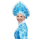 也作为收集玩偶已知的未婚俄国snegourochka雪 美丽的纵向微笑的冬天妇女年轻人 免版税库存图片