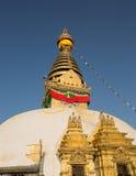 也古老在复杂小山加德满都已知的生存猴子上面胡闹零件宗教罗猴swayambhunath寺庙那里谷 库存图片