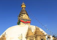 也古老在复杂小山加德满都已知的生存猴子上面胡闹零件宗教罗猴swayambhunath寺庙那里谷 图库摄影