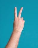 也手指现有量查出语言信函v胜利白色的和平标志符号二 库存照片