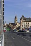 从也是Cibin桥梁的老镇锡比乌罗马尼亚视图 库存图片