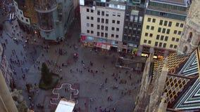 维也纳、奥地利- 12月、24个, 2016年圣斯德望` s大教堂正方形和圣诞树,看法从上面 普遍 图库摄影